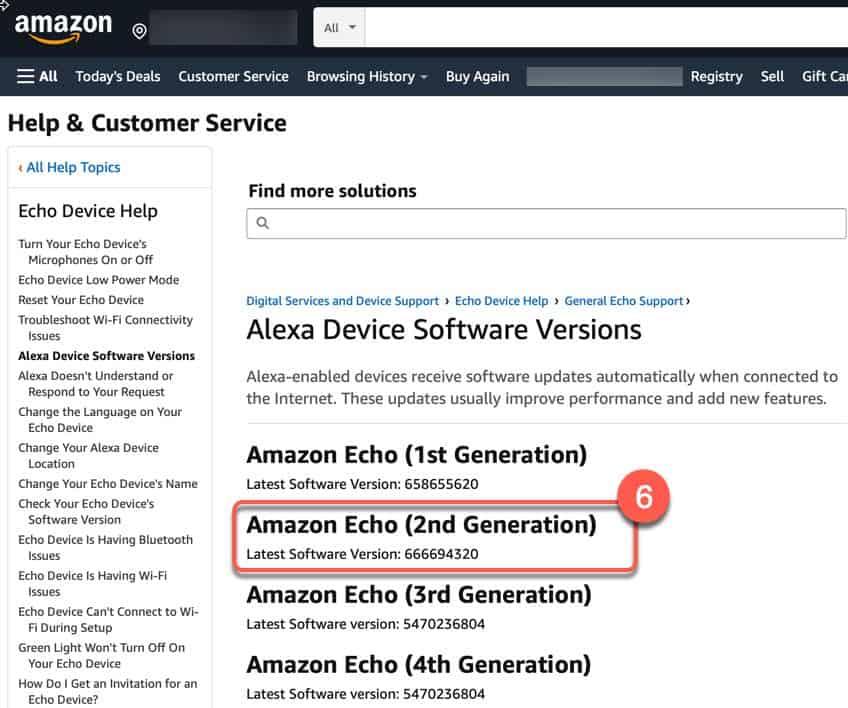 Amazon Alexa software version